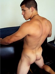 Muscled latino twink stripping and shows big cock