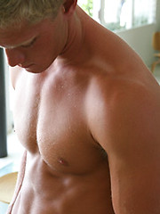 Blonde jock gets naked
