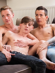 The pizza delivery boy engaged in a steamy bareback threesome.