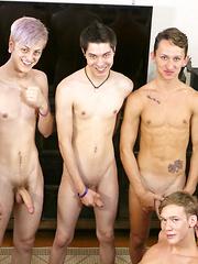 Bareback Twink Boy Orgy!